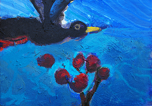 Marijke Braaksma painting, Bird and Berries
